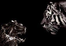 Máquina enfrentando da natureza abstrata artística no tema preto e branco ilustração royalty free