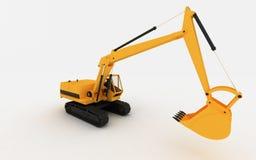 Máquina escavadora amarela Imagens de Stock Royalty Free
