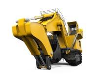 Máquina escavadora amarela isolada Fotos de Stock