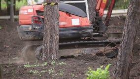 Máquina escavadora com passeios da cubeta video estoque