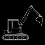 Máquina escavadora com trabalhos de estrada da construção da cubeta Fotos de Stock
