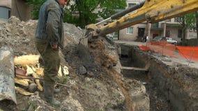 Máquina escavadora da cubeta vídeos de arquivo