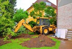 Máquina escavadora de escavação Fotografia de Stock Royalty Free