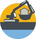 Máquina escavadora Digger Handling House Circle Retro Imagens de Stock