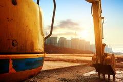 Máquina escavadora do canteiro de obras Foto de Stock