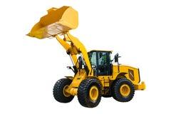 Máquina escavadora do carregador ou da escavadora, isolada no fundo branco com fotografia de stock royalty free