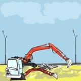 Máquina escavadora do vetor no canteiro de obras Foto de Stock