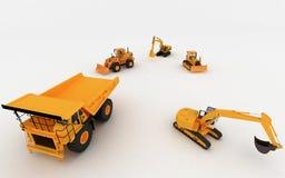 Máquina escavadora e descarga amarelas Fotos de Stock Royalty Free