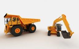 Máquina escavadora e descarga amarelas Fotografia de Stock Royalty Free