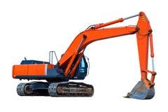 Máquina escavadora isolada no branco Fotografia de Stock