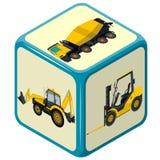 Máquina escavadora no canteiro de obras O grupo infographic azul, terra trabalha veículos das máquinas do azul ilustração do vetor