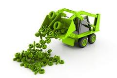 Máquina escavadora que despeja símbolos da porcentagem Imagens de Stock