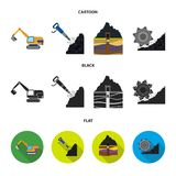 Máquina escavadora, túnel, elevador, ceifeira de carvão e o outro equipamento Ícones ajustados da coleção da mina nos desenhos an ilustração stock