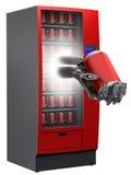 Máquina expendedora con la mano y la bebida del cyborg en c Imagenes de archivo