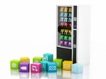 máquina expendedora 3d con los iconos del uso Fotos de archivo