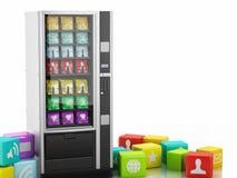máquina expendedora 3d con los iconos del uso Imagen de archivo