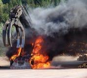 Máquina grande no incêndio Fotografia de Stock Royalty Free
