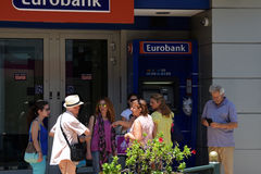 Máquina greece do atm do turista Fotografia de Stock
