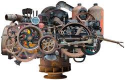 Máquina industrial de la fábrica de Steampunk aislada Fotos de archivo libres de regalías