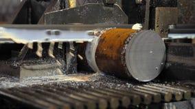 Máquina industrial para cortar a haste de aço com líquido refrigerante A faixa viu cortando metais crus com líquido refrigerante filme