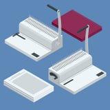 Máquina isométrica da pasta Documentos obrigatórios com pasta de anel plástica usando a máquina de emperramento do anel para o re ilustração stock