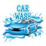 Máquina limpa de Washington do carro, lavagem de carro com esponja e mangueira Fotografia de Stock