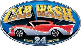 Máquina limpa de Washington do carro, lavagem de carro com esponja e mangueira ilustração do vetor