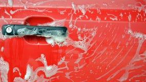 Máquina limpia de Washington del coche, colada de coche con la esponja y manguito Imagenes de archivo