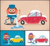 Máquina limpia de Washington del coche, colada de coche con la esponja y manguito Foto de archivo