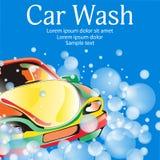 Máquina limpia de Washington del coche, colada de coche con la esponja y manguito Plantilla del cartel para su diseño Vector Foto de archivo libre de regalías