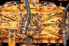 Máquina oxidada amarilla vieja Fotos de archivo libres de regalías