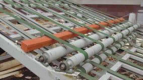 Máquina para la producción de hojas de chapa, en el proceso La operación del transportador para el transporte de chapeado almacen de video