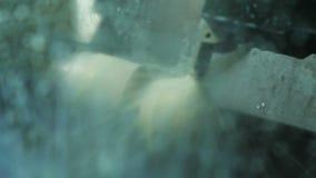A máquina próxima da vista com água refrigerando opera-se com detalhe video estoque