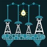 A máquina produz a plataforma petrolífera em uma sala escura com uma ampola Fotografia de Stock Royalty Free