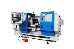 Máquina profissional de fabricação do torno Conceito industrial Torno digital moderno programável com controle de programa digita imagens de stock