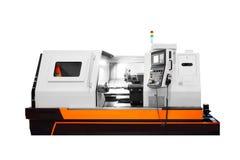 Máquina profissional de fabricação do torno Conceito industrial Torno digital moderno programável isolado no backgroun branco imagem de stock royalty free