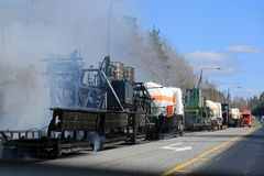Máquina que pone a Asphalt Concrete en las obras por carretera Imagenes de archivo