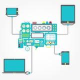 Máquina que se considera electrónica Imágenes de archivo libres de regalías