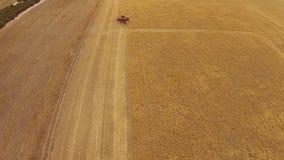 Máquina segador aérea distante de la cantidad en prado almacen de metraje de vídeo