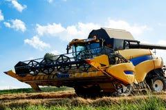 Máquina segador de Yellov en el campo que cosecha trigo del oro Imagen de archivo
