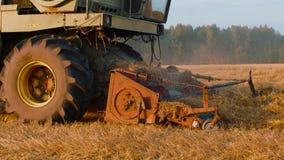 Máquina segador industrial que cosecha la cosecha del otoño en campo del otoño en campo almacen de video