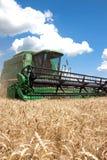 Máquina segadora que trabaja en un campo de trigo Imágenes de archivo libres de regalías
