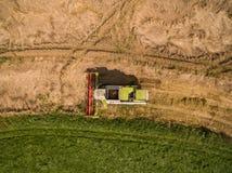 Máquina segadora - vista aérea de la máquina segadora moderna en la cosecha del trigo en el campo de trigo de oro en el verano Foto de archivo