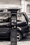 Máquina solar do estacionamento do carro do pagamento e da exposição fotografia de stock