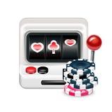 Máquina tragaperras con las fichas de póker aisladas libre illustration