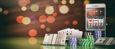 Máquina tragaperras en una pantalla, las fichas de póker, las tarjetas y dinero del smartphone ilustración 3D Fotos de archivo