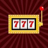 Máquina tragaperras Luz de oro de la lámpara que brilla intensamente del color Bote 777 Sevens afortunado Palanca roja de la mani Imagen de archivo