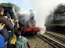 Máquina vieja del vapor en la estación de tren de Haedo Foto de archivo