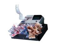 Máquina y euros del registro Imagen de archivo libre de regalías