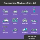 Máquinas da construção ajustadas de ícones lisos Imagens de Stock Royalty Free